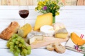 Картинка цветы, вино, сыр, хлеб, виноград, доска, wine