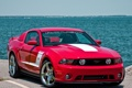 Картинка море, красный, Mustang, Ford, мустанг, red, мускул кар