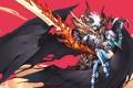 Картинка девушка, оружие, крылья, меч, демон, арт, рога