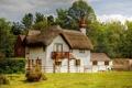Картинка небо, деревья, дом, Англия, коттедж