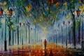Картинка деревья, люди, картина, фонари, Colours of winter, леонид афремов