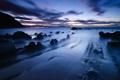Картинка закат, камни, синий, туман, море