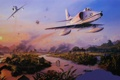 Картинка рисунок, поля, арт, пара, полёт, штурмовик, вьетнам