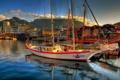 Картинка вода, горы, отражение, корабли, яхты, лодки, Город