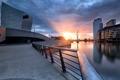 Картинка закат, город, река