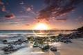Картинка солнце, пейзаж, природа, камни, рассвет, берег, Гаваи