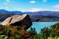 Картинка река, берег, камень, кусты, Аргентина, Patagonia