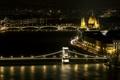 Картинка ночь, город, река, здания, мосты, парламент, Венгрия