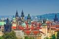 Картинка небо, башня, дома, Прага, Чехия, панорама