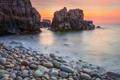 Картинка камни, скалы, берег, рассвет, океан