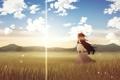 Картинка поле, небо, облака, горы, Девушка