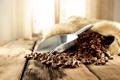 Картинка лопатка, мешок, кофейные зерна