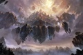 Картинка горы, город, скалы, арт, водопады, летучий, в небе