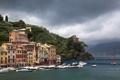 Картинка тучи, город, фото, побережье, дома, Италия, Portofino