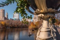 Картинка мост, озеро, дома, Нью-Йорк, США, Центральный парк