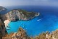 Картинка море, пляж, горы, люди, бухта, яхты, греция