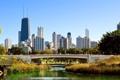 Картинка Мост, Чикаго, Небоскребы, Здания, Парк, Америка, Chicago