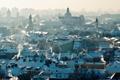 Картинка дым, крыши, панорама, smoke, panorama, cityscape, городской пейзаж