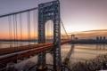 Картинка закат, мост, река, Нью-Йорк, New York