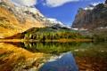 Картинка природа, горы, отражение, скалы, озеро