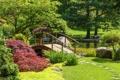 Картинка трава, деревья, пруд, парк, камни, лавочка, мостик