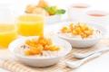 Картинка завтрак, сок, фрукты, каша