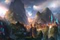 Картинка горы, город, краски, водопад, сакура, art, fom