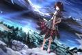 Картинка небо, вода, девушка, облака, пейзаж, закат, горы