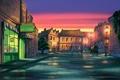Картинка конь, улица, лошадь, мультфильм, дома, вечер, фонари