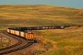 Картинка осень, небо, трава, холмы, поезд, вагон, состав