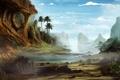 Картинка арт, камни, скалы, пальмы