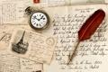 Картинка перо, часы, vintage, винтаж, открытка, марка, старая бумага
