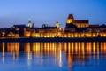 Картинка небо, огни, отражение, река, зеркало, Польша, сумерки