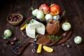 Картинка яблоки, еда, сыр, фрукты, орехи, варенье, лесные