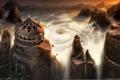 Картинка шторм, арт, храм, воронка, Matrial Empires