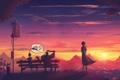 Картинка девушка, закат, ожидание, robots, waiting
