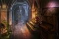 Картинка замок, растение, доспехи, арт, ограждение, ступени, рыцарь