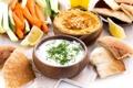 Картинка овощи, йогурт, закуски, хумус, лепешки
