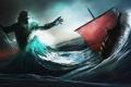 Картинка море, волны, шторм, корабль, парусник, трезубец, битва