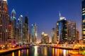 Картинка ночь, огни, река, небоскребы, лодки, катера, Dubai