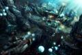 Картинка город, скалы, корабль, водолаз, арт, медузы, под водой