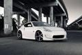Картинка спорткар, тюнинг, автомобиль, ниссан, белый, эстакада, Nissan 370Z