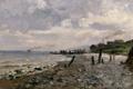 Картинка берег, корабль, дома, картина, морской пейзаж, Карлос де Хаэс, Побережье Виллервиля
