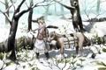 Картинка зима, девушка, снег, деревья, животное, растения, аниме
