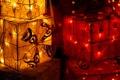 Картинка звезды, свет, красный, желтые, фонарики, праздники