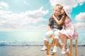 Картинка море, дети, настроение, ситуация, поцелуй, мальчик, дружба