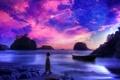 Картинка песок, море, фиолетовый, небо, вода, пейзаж, камни