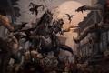 Картинка город, оружие, конь, луна, зомби, всадник, битва