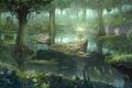 Картинка лес, вода, пейзаж, пруд, болото, арт