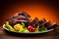 Картинка жареное мясо, блюдо, мясо, картофель, помидор
